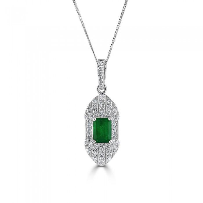 18ct White Gold Emerald & Diamond Art Deco Pendant E 0.85 D 0.50