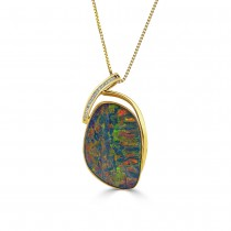 18ct Gold Large Opal Doublet & Diamond Pendant O 34.48 D 0.31ct
