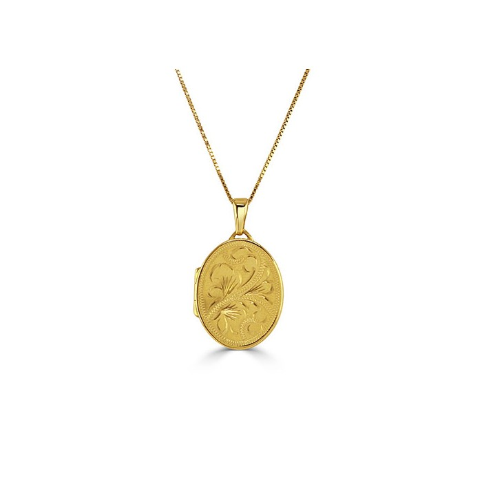 9ct Gold 20x16mm Hand Engraved Hinged Locket