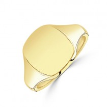 9ct Gold Gent's Heavy Cushion Signet Ring - 9g