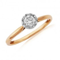 18ct Rose Gold Diamond Solitaire Ring - 0.30cts