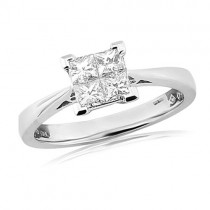 18ct White Gold 4st Princess Cut Diamond Ring - 0.54cts