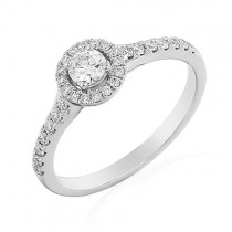 18ct White Gold Halo Diamond Engagement Ring - 0.20ct D colour