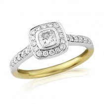 Gold Cushion Cut Engagement Rings