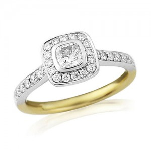 18ct Gold Cushion Cut Diamond Halo Engagement Ring - D:0.65cts