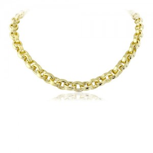 Gold Vermeil Silver Endless Paper Chain Necklace - MME0105-20