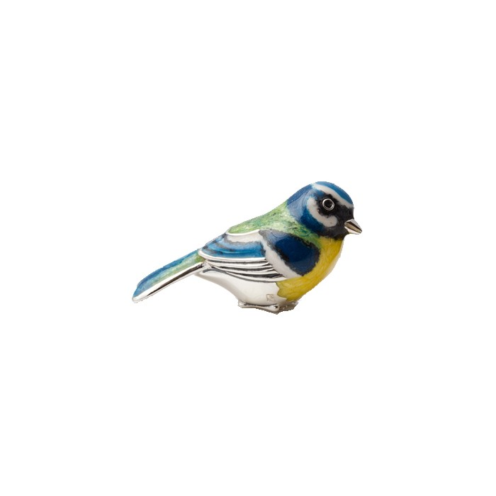 Saturno Sterling Silver & Enamel Crouching Blue Tit - 12875L