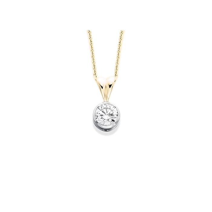 18ct Gold Diamond Solitaire Pendant - 0.21cts