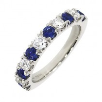 [Sapphire Eternity Rings] Platinum 11st Sapphire & Diamond Eternity Ring - S 0.77 D 0.47