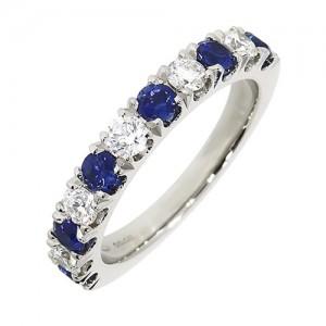 Platinum 11st Sapphire & Diamond Eternity Ring - S 0.77 D 0.47