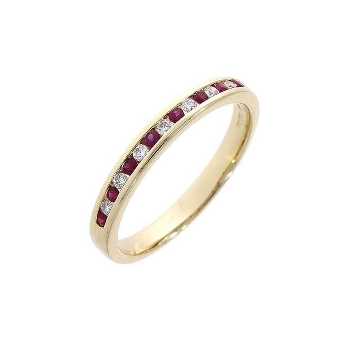 18ct Gold 15st Ruby & Diamond Eternity Ring - R 0.17  D 0.10