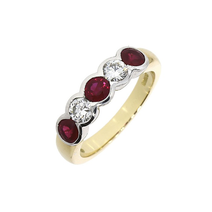18ct Gold 5st Diamond & Ruby Eternity Ring - R:0.82 D:0.43