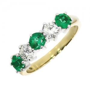 18ct Gold Emerald & Diamond Eternity ring - E 1.07   D 0.69