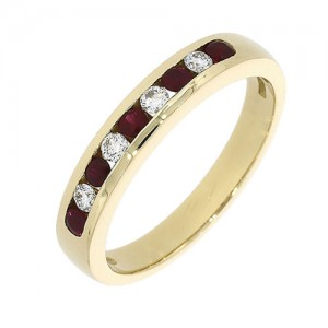 18ct Gold Diamond & Ruby Eternity Ring - R:0.27 D:0.12