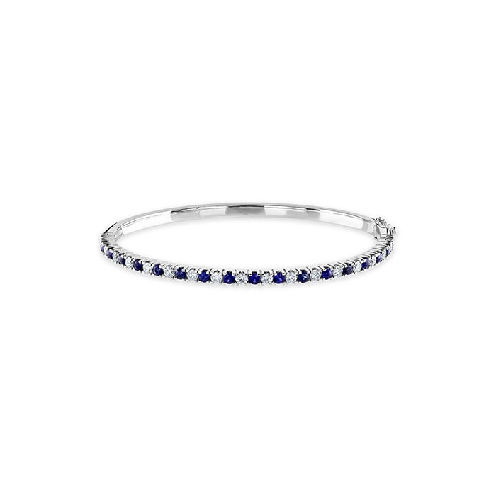 18ct White Gold Sapphire & Diamond Bangle - S 1.35ct  D 0.93ct