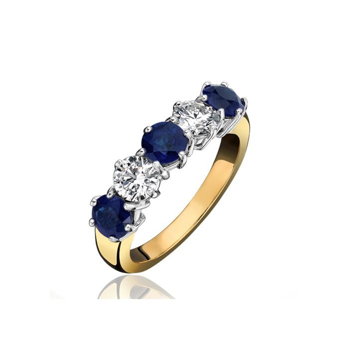 18ct Gold 5st Sapphire & Diamond Eternity Ring - S 1.94 D 1.00ct