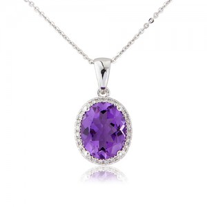 9ct White Gold Amethyst & Diamond Cluster Pendant - 0.10cts