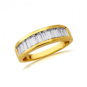 9ct Gold CZ Channel Set Ring