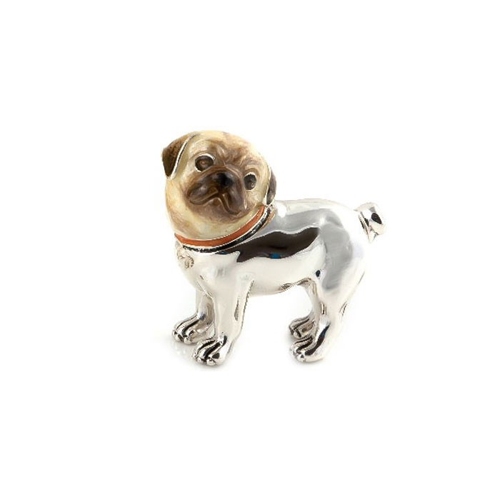 Saturno Sterling Silver & Enamel Pug Dog - Small - 12694S