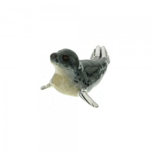 Saturno Sterling Silver & Enamel Grey Seal - Small - 12951S