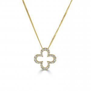 18ct Gold Quatrefoil Diamond Necklet - 0.33ct