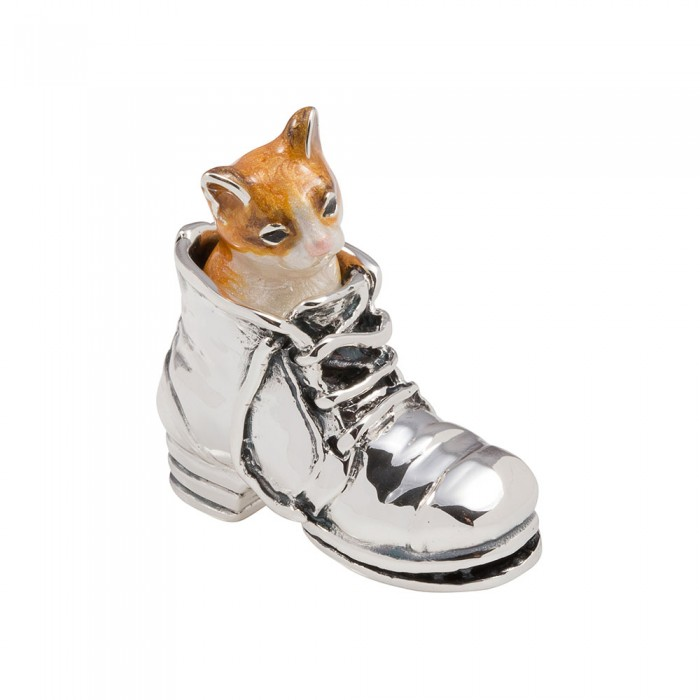 Saturno Sterling Silver & Enamel Marmalade Puss in Boots - 11840