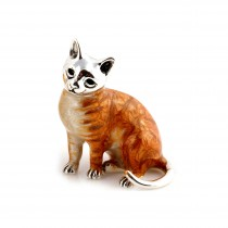 Saturno Sterling Silver & Enamel Marmalade Cat - Small - 8587S