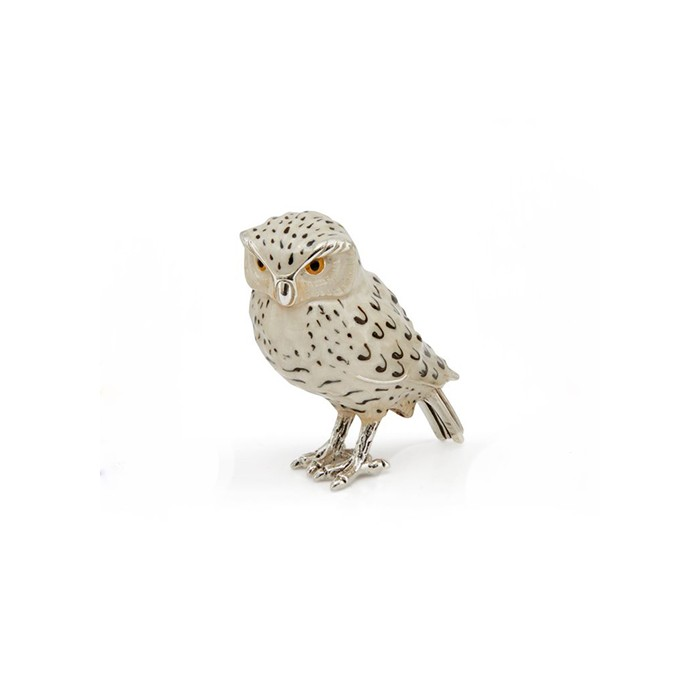 Sterling Silver Snowy Owl By Saturno - A-13215-M