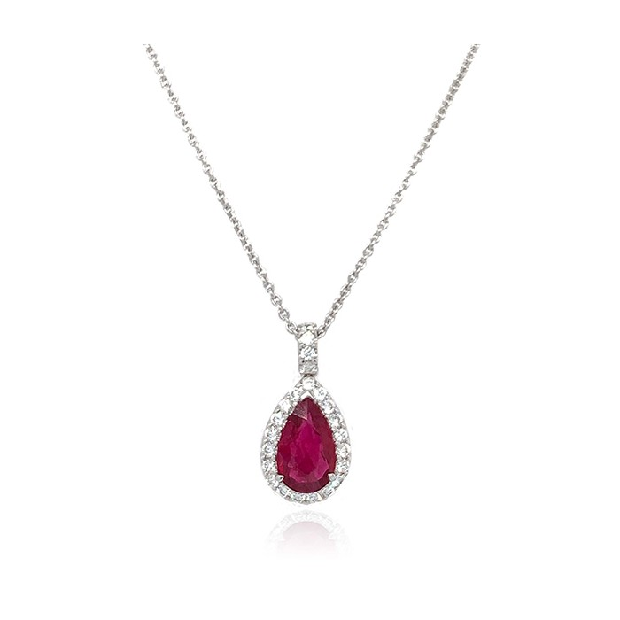 18ct White Gold Ruby & Diamond Pendant - R 1.19 D:0.23