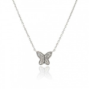 9ct White Gold Butterfly Necklet D 0.08