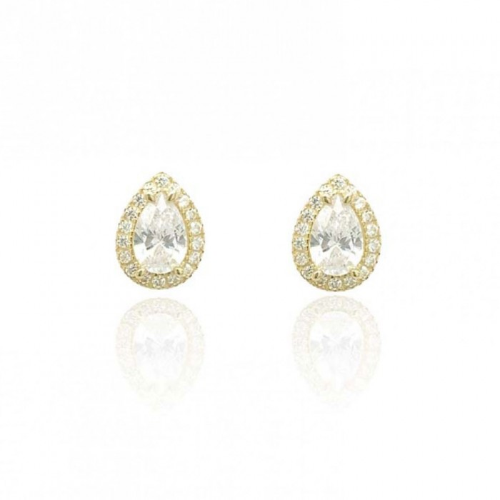 9ct Yellow Gold Pear Shaped CZ Halo Stud Earrings