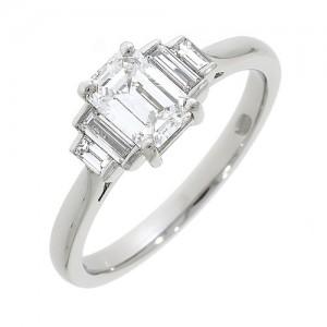 Platinum Art Deco 5st Emerald Cut Diamond Ring 0.85 + 0.26 E/VS1