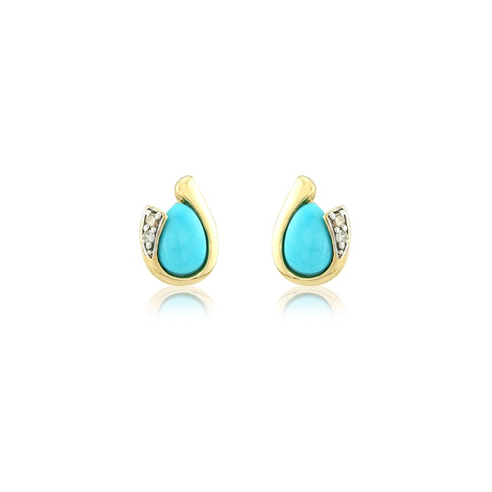 9ct Yellow Gold Turquoise Stud Earrings