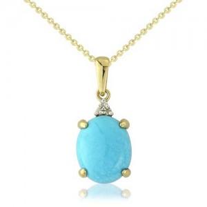 9ct Gold Diamond & Turquoise Pendant