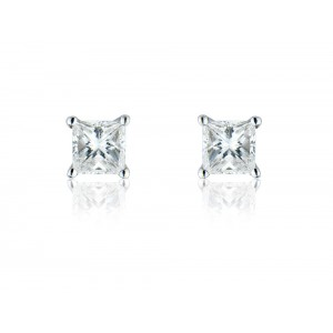18ct White Gold Princess Cut Diamond Stud Earrings - 1.07cts