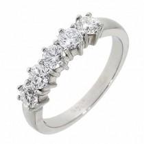 Platinum 5st Claw Set 1 Carat Diamond Eternity Ring - D:1.02cts