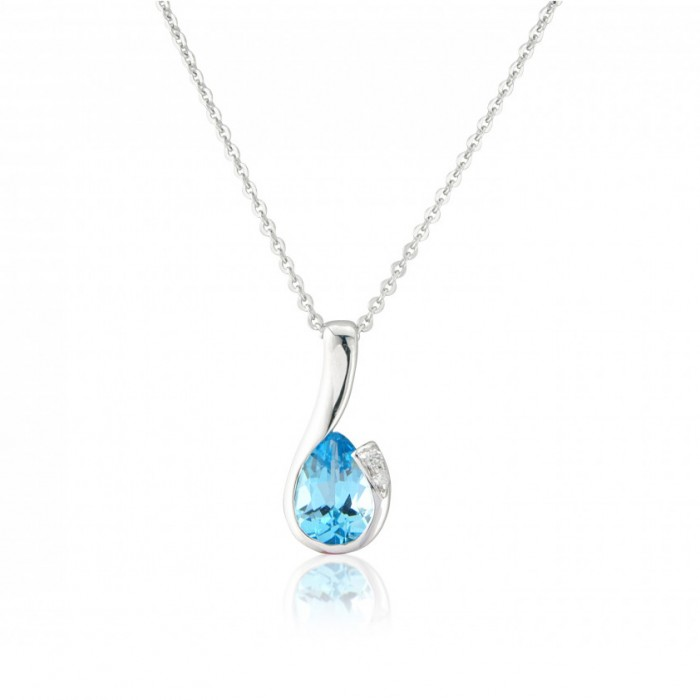 9ct White Gold Blue Topaz & Diamond Pendant