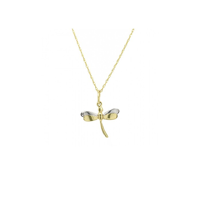 9ct 2-col Gold Dragonfly Pendant & Chain