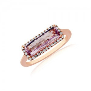 9ct Rose Gold Rose de France Amethyst & Diamond Dress Ring