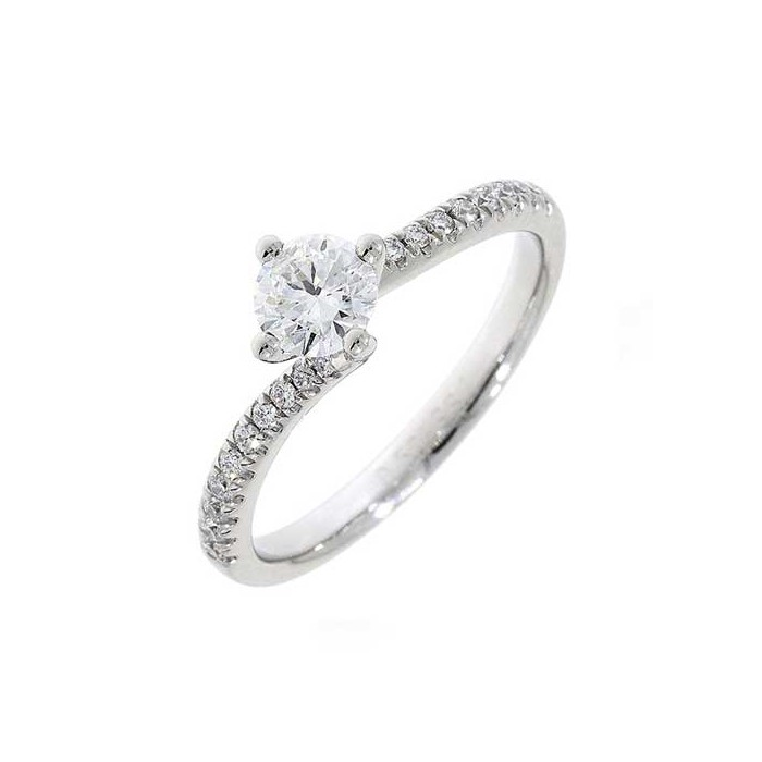 Platinum Solitaire  Diamond Twist Ring - 0.51 + 0,17cts D/SI2