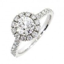 1 Carat Solitaire Halo Diamond Ring in Platinum GIA Certified G/VS2