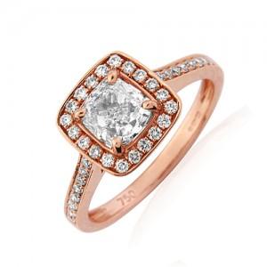 18ct Rose Gold Cushion Cut Diamond Cluster Ring - C 0.91 D 0.28