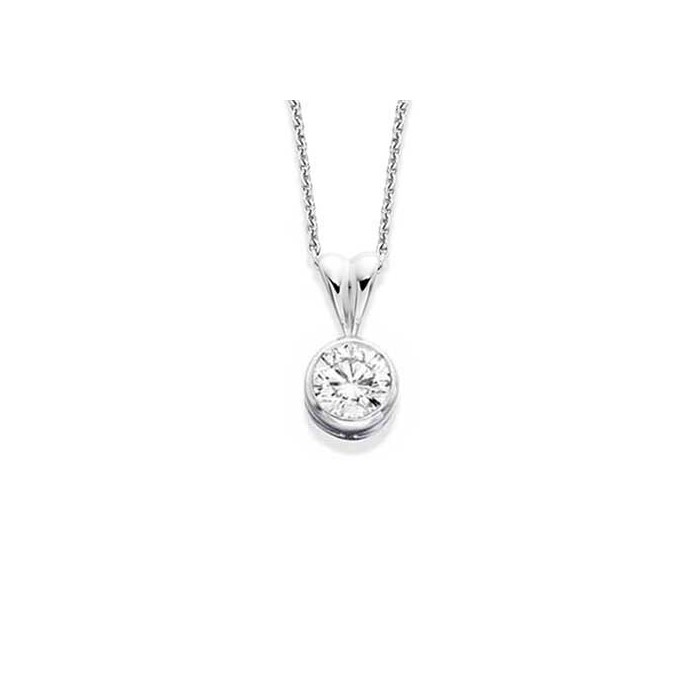 18ct White Gold Diamond Solitaire Pendant - 0.30cts