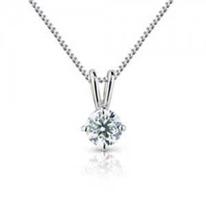 18ct White Gold Diamond Solitaire Pendant - 0.50cts