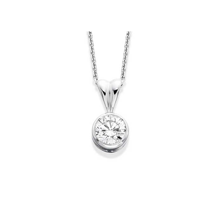 18ct White Gold Diamond Solitaire Pendant - 0.70cts