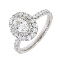Double Halo Diamond Engagement Ring 0.71ct