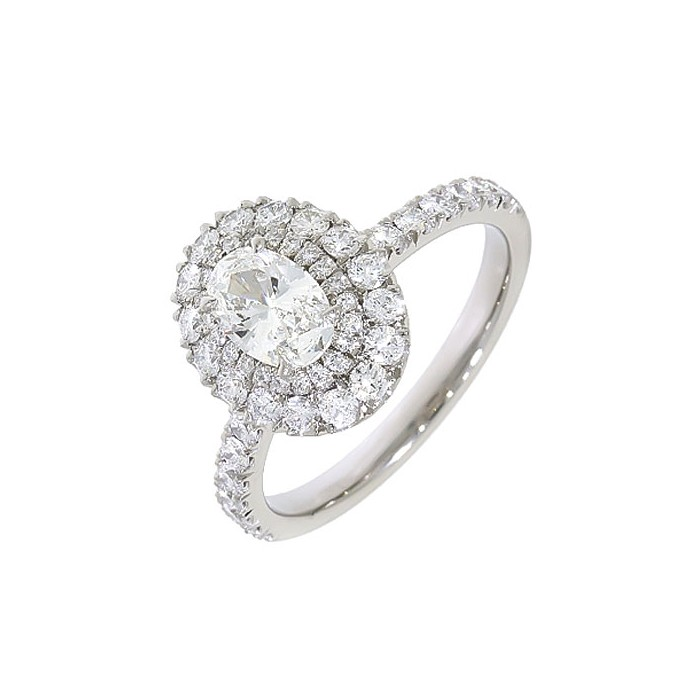 Platinum Double Halo Oval Diamond Ring - 0.71 + 0.77 F/SI1