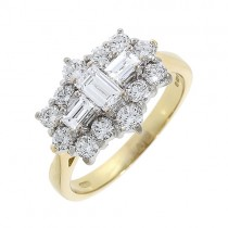 Yellow Gold Diamond Cluster Ring 1.32 carats