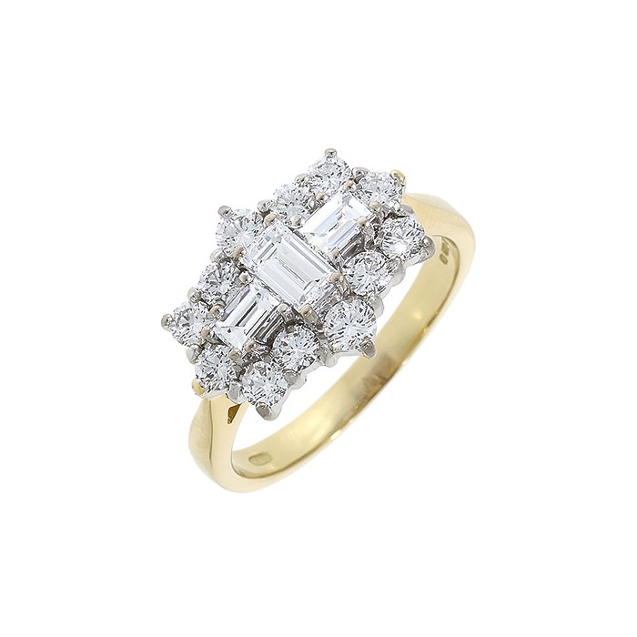 18ct Gold Crossed Baguette Diamond Cluster Ring - 1.32cts
