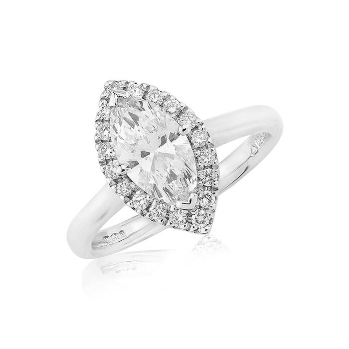Platinum Marquise Diamond Cluster Ring - 1.02 + 0.18cts